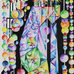 the chandelier, 12 x 15 inch, anupam bhardwaj,paintings,abstract paintings,paintings for living room,thick paper,watercolor,12x15inch,GAL035498647