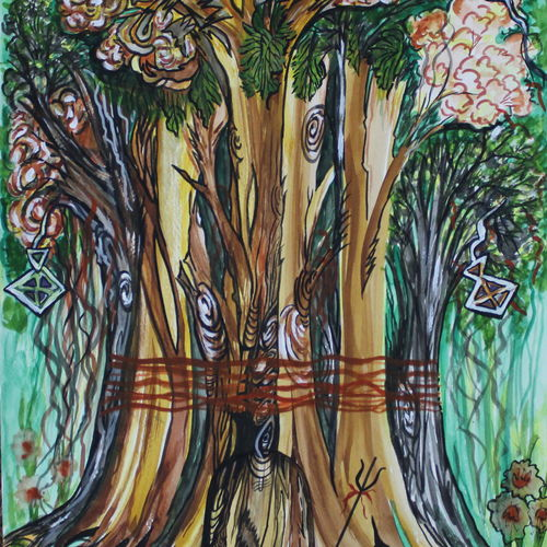 the shiva tree, 12 x 15 inch, anupam bhardwaj,abstract paintings,paintings for living room,lord shiva paintings,thick paper,mixed media,12x15inch,GAL035498649