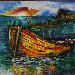 ready to sail, 15 x 12 inch, anupam bhardwaj,paintings,nature paintings,paintings for living room,thick paper,acrylic color,15x12inch,GAL035498651Nature,environment,Beauty,scenery,greenery
