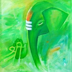 ganesha - 5, 10 x 11 inch, a.b.  kaser,paintings,ganesha paintings,paintings for living room,canvas,acrylic color,10x11inch,GAL06368672,vinayak,ekadanta,ganpati,lambodar,peace,devotion,religious,lord ganesha,lordganpati,ganpati,ganesha,lord ganesh,elephant god,religious,ganpati bappa morya