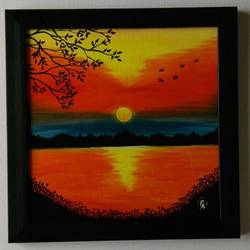 sunset canvas, 12 x 12 inch, prajna art,paintings,nature paintings,paintings for living room,canvas,acrylic color,12x12inch,GAL037038695Nature,environment,Beauty,scenery,greenery