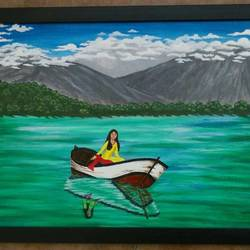 in the boat canvas, 16 x 24 inch, prajna art,paintings,still life paintings,paintings for living room,canvas,acrylic color,16x24inch,GAL037038696