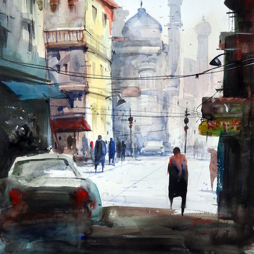 delhi main way, 21 x 15 inch, sankar thakur,cityscape paintings,paintings for office,canvas,watercolor,21x15inch,GAL0787