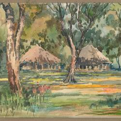 nature, 15 x 10 inch, rahul singh,paintings,nature paintings,paintings for living room,renaissance watercolor paper,watercolor,15x10inch,GAL037088711Nature,environment,Beauty,scenery,greenery,houses,trees