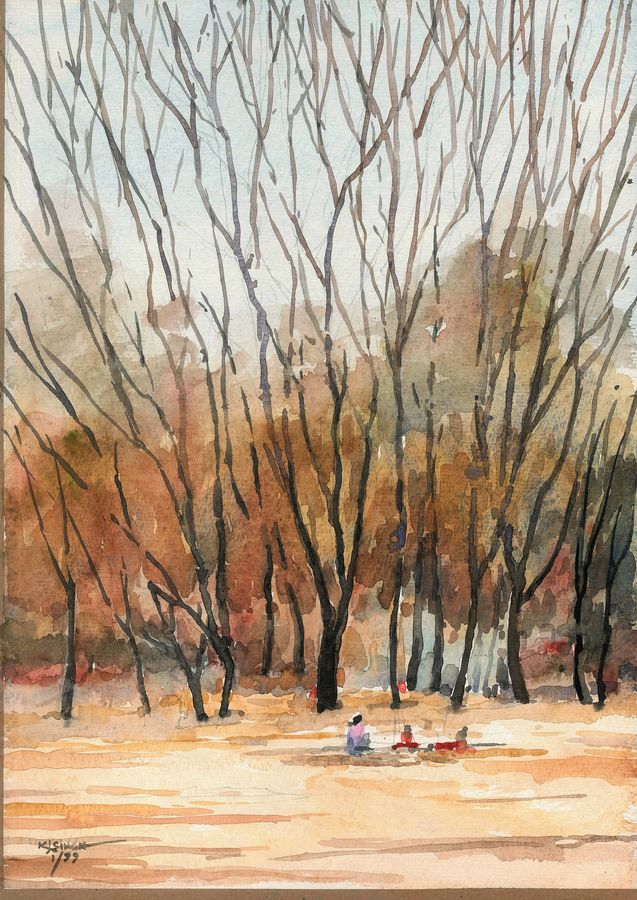 autumn, 15 x 10 inch, rahul singh,paintings,nature paintings,paintings for living room,handmade paper,watercolor,15x10inch,GAL037088717Nature,environment,Beauty,scenery,greenery