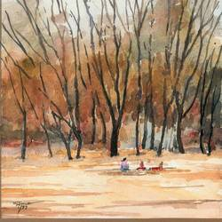 autumn, 15 x 10 inch, rahul singh,paintings,nature paintings,paintings for living room,handmade paper,watercolor,15x10inch,GAL037088718Nature,environment,Beauty,scenery,greenery,water,lady