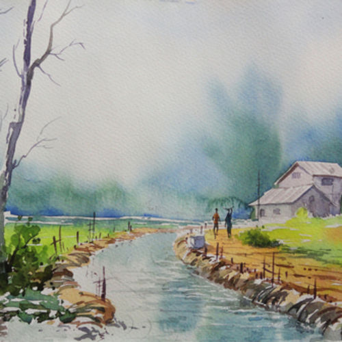 landscape art 3 - handpainted art, 20 x 14 inch, mahesh  honule,landscape paintings,paintings for dining room,thick paper,watercolor,20x14inch,GAL0131872