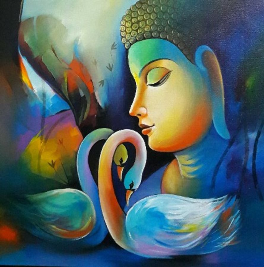 positive energy of lord buddha , 24 x 24 inch, sanjay  tandekar ,buddha paintings,paintings for living room,canvas,acrylic color,24x24inchreligious,peace,meditation,meditating,gautam,goutam,buddha,colorful,swan,side face,GAL028108729