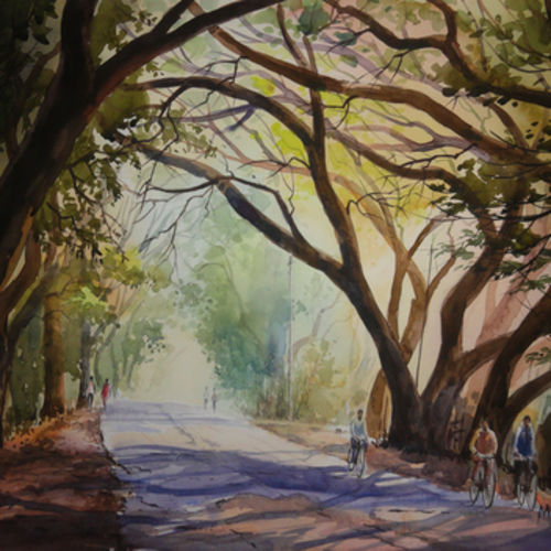 landscape art 4 - handpainted art, 20 x 14 inch, mahesh  honule,landscape paintings,paintings for dining room,thick paper,watercolor,20x14inch,GAL0131873