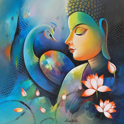 buddha with blue peacock , 24 x 24 inch, sanjay  tandekar ,buddha paintings,paintings for living room,canvas,acrylic color,24x24inch,religious,peace,meditation,meditating,gautam,goutam,buddha,peacock,colorful,lotus,side face,GAL028108730