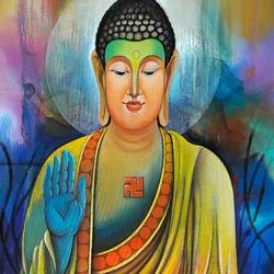 budhha 7, 24 x 48 inch, sanjay  tandekar ,paintings,buddha paintings,paintings for living room,canvas,acrylic color,24x48inch,religious,peace,meditation,meditating,gautam,goutam,buddha,colourful,giving blessing,peaceful,GAL028108731