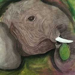 elephant, 11 x 16 inch, sury s,paintings,animal paintings,paintings for living room,cartridge paper,poster color,11x16inch,GAL037108734