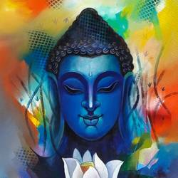 buddha with white flower , 24 x 48 inch, sanjay  tandekar ,buddha paintings,paintings for living room,canvas,acrylic color,24x48inch,GAL028108736
