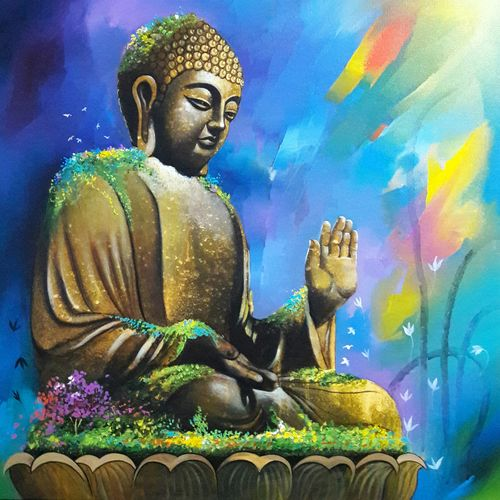 buddha in nature , 24 x 24 inch, sanjay  tandekar ,buddha paintings,paintings for living room,canvas,acrylic color,24x24inch,GAL028108737
