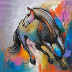 shaded horse, 24 x 24 inch, sanjay  tandekar ,modern art paintings,paintings for office,horse paintings,canvas,acrylic color,24x24inch,GAL028108739