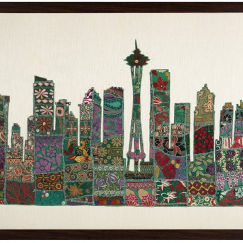 seattle skyline wall art, 37 x 61 inch, tarundeep kaur,paintings,multi piece paintings,paintings for living room,canvas,fabric,37x61inch,GAL037308740