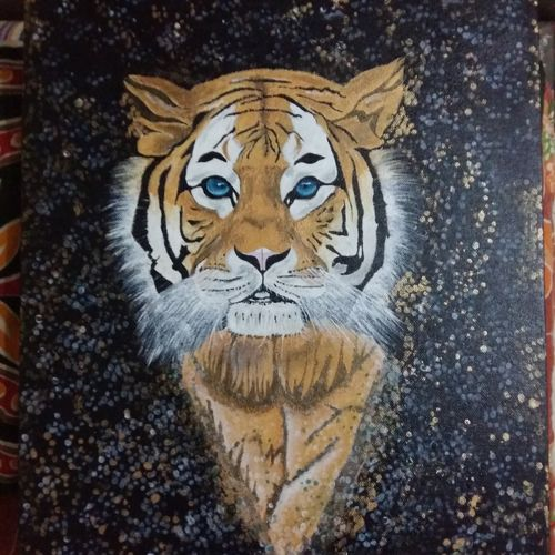 tiger, 18 x 14 inch, neyshiek subba,paintings,animal paintings,paintings for living room,canvas,acrylic color,18x14inch,GAL037068741