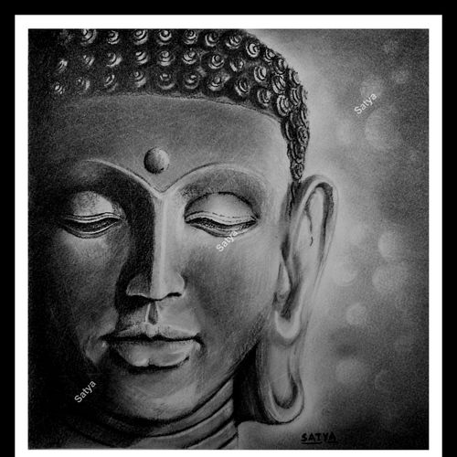 lord buddha, 9 x 10 inch, satya sinha,drawings,buddha drawings,paintings for living room,canson paper,charcoal,9x10inch,GAL037428745