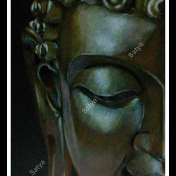 lord buddha- bronze tone, 9 x 13 inch, satya sinha,drawings,paintings for living room,buddha drawings,thick paper,pencil color,9x13inch,GAL037428746