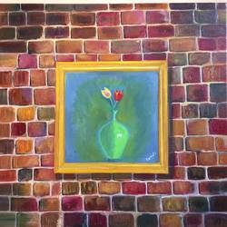 brick wall, 24 x 24 inch, sonali sanpui,paintings,modern art paintings,paintings for living room,canvas,oil,24x24inch,GAL015148749