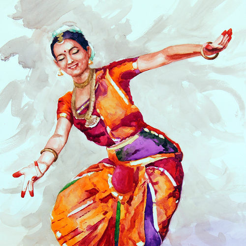 classical dancer (10), 22 x 30 inch, jeyaprakash m,paintings,figurative paintings,paintings for living room,canson paper,watercolor,22x30inch,GAL011028756