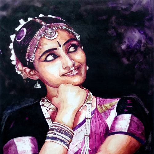 classical dancer (7), 18 x 25 inch, jeyaprakash m,paintings,figurative paintings,paintings for living room,canson paper,watercolor,18x25inch,GAL011028757