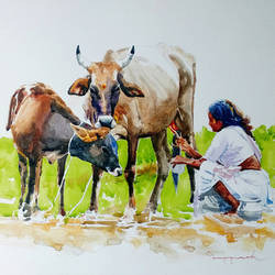 cow with calf, 19 x 13 inch, jeyaprakash m,paintings,figurative paintings,paintings for living room,canson paper,watercolor,19x13inch,GAL011028759
