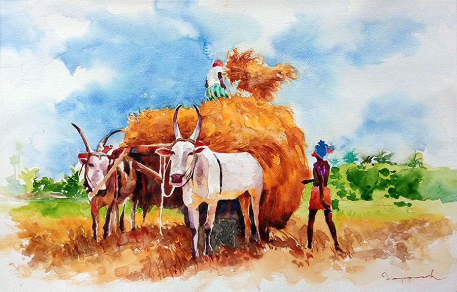 after harvest, 19 x 13 inch, jeyaprakash m,paintings,figurative paintings,paintings for living room,canson paper,watercolor,19x13inch,farmer,village,bull,bullock cart,GAL011028760