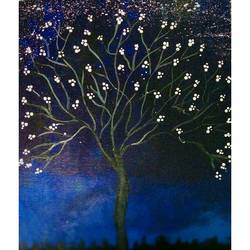 tree silhouette in a night sky , 10 x 12 inch, v kohli ,paintings,landscape paintings,canvas,acrylic color,10x12inch,GAL037598766