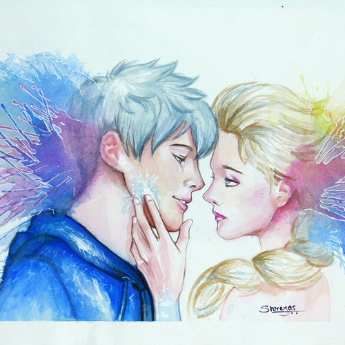 jackfrost and elsa, 11 x 8 inch, shreyas pailkar,love paintings,paintings for bedroom,figurative paintings,paper,watercolor,11x8inch,GAL026028770heart,family,caring,happiness,forever,happy,trust,passion,romance,sweet,kiss,love,hugs,warm,fun,kisses,joy,friendship,marriage,chocolate,husband,wife,forever,caring,couple,sweetheart