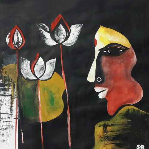 womanhood, 35 x 28 inch, sanghita biswas,paintings,figurative paintings,paintings for dining room,thick paper,poster color,35x28inch,GAL037658772