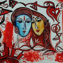 radhe krishna, 35 x 28 inch, sanghita biswas,paintings,radha krishna paintings,paintings for living room,thick paper,poster color,35x28inch,GAL037658774,radha,krishna,love,lord,lordkrishna,lordradha