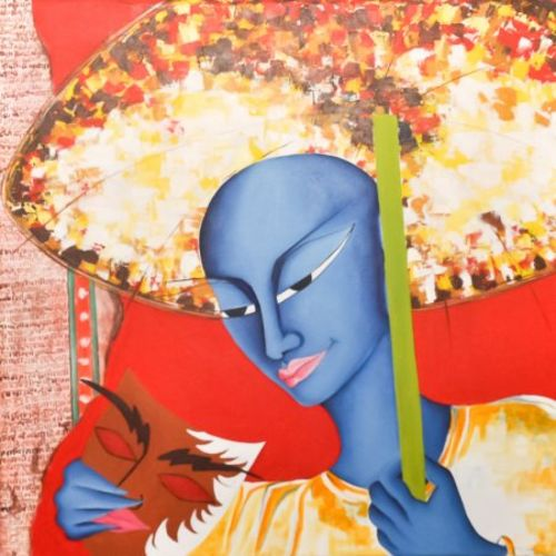 man with mask, 24 x 24 inch, deepali mundra,figurative paintings,paintings for office,canvas,acrylic color,24x24inch,GAL0400878