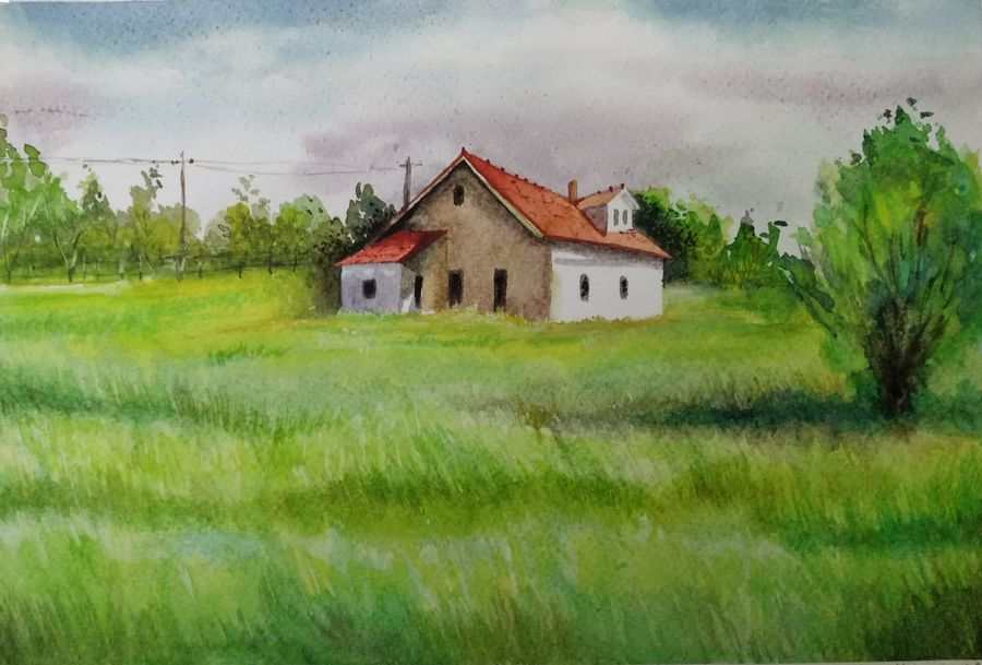 house in meadows, 12 x 8 inch, e rao,paintings,landscape paintings,paintings for living room,canson paper,watercolor,12x8inch,GAL037708789