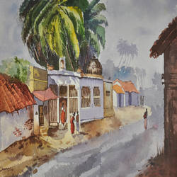 village scene, 20 x 14 inch, shanmugam p,paintings,landscape paintings,paintings for living room,brustro watercolor paper,watercolor,20x14inch,GAL037768797
