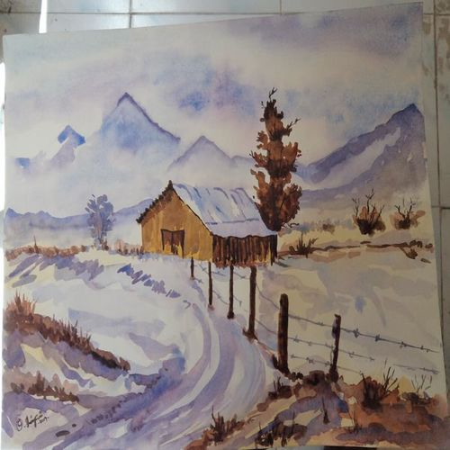 snow house, 14 x 11 inch, shanmugam p,paintings,landscape paintings,paintings for living room,paper,watercolor,14x11inch,GAL037768798