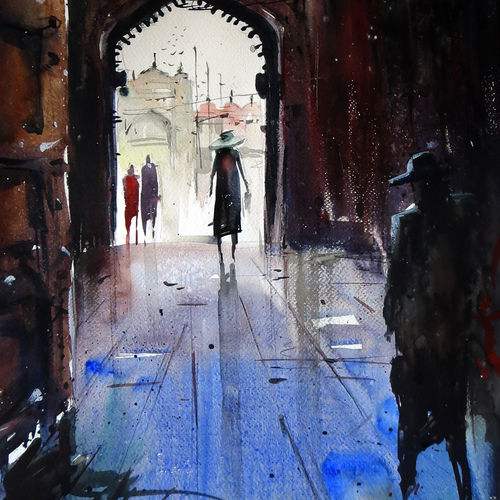 fatehpur sikri, 21 x 15 inch, sankar thakur,landscape paintings,paintings for living room,fabriano sheet,watercolor,21x15inch,GAL0788