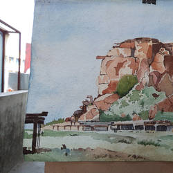 fort, 14 x 11 inch, shanmugam p,paintings,landscape paintings,paintings for living room,paper,watercolor,14x11inch,GAL037768800