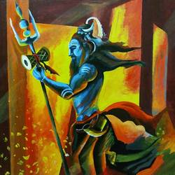 mahadev enlightenment, 16 x 24 inch, prabha mishra,paintings,religious paintings,paintings for living room,canvas,acrylic color,16x24inch,GAL037838803