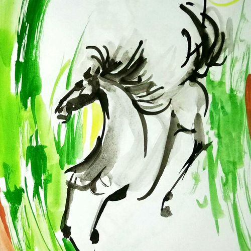 horse  17, 24 x 24 inch, ananya  nath ,abstract paintings,paintings for living room,horse paintings,thick paper,enamel color,24x24inch,GAL037968813