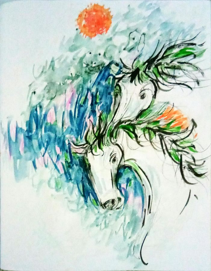 horses  2, 24 x 24 inch, ananya  nath ,abstract paintings,paintings for living room,horse paintings,thick paper,enamel color,24x24inch,GAL037968814