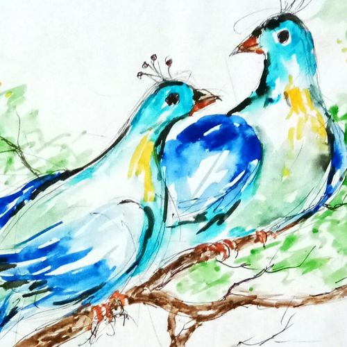 love birds , 20 x 20 inch, ananya  nath ,paintings,abstract paintings,paintings for bedroom,thick paper,enamel color,20x20inch,GAL037968817