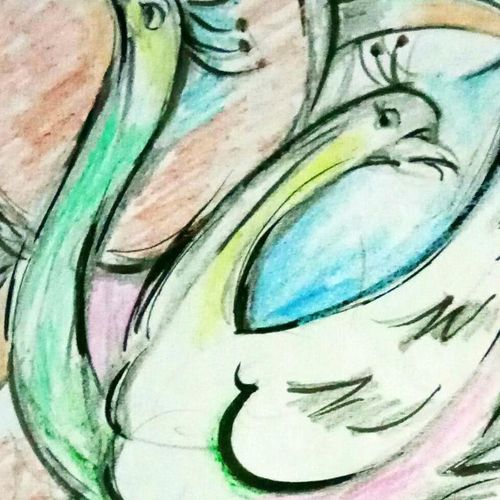 swans , 24 x 24 inch, ananya  nath ,paintings,abstract paintings,paintings for living room,thick paper,enamel color,24x24inch,GAL037968818