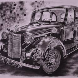 rollce royce, 11 x 15 inch, kiran patil,drawings,photorealism drawings,paintings for living room,thick paper,charcoal,11x15inch,GAL038018820