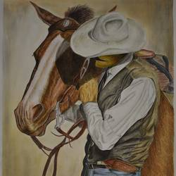 cowboy, 14 x 21 inch, kiran patil,drawings,realism drawings,paintings for living room,thick paper,poster color,14x21inch,GAL038018822
