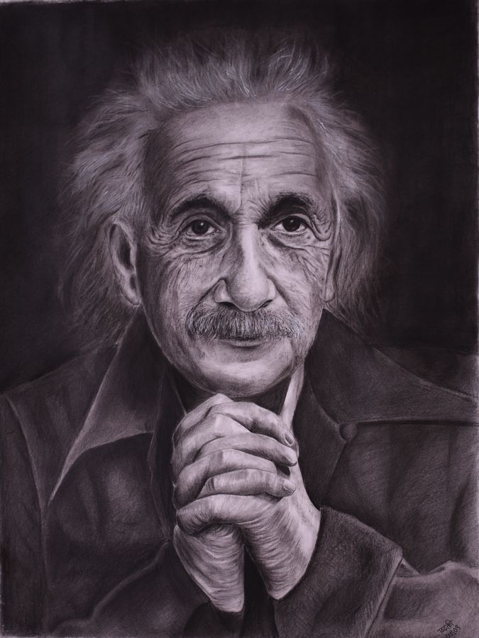 einstein, 15 x 19 inch, kiran patil,drawings,paintings for living room,portrait drawings,thick paper,charcoal,15x19inch,GAL038018823