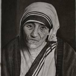 mother teresa, 15 x 22 inch, kiran patil,portrait drawings,paintings for living room,mother teresa paintings,thick paper,charcoal,15x22inch,GAL038018824