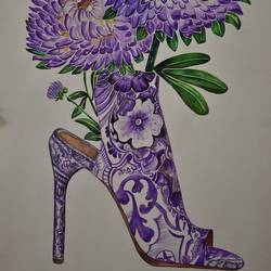 flower sandal, 15 x 22 inch, kiran patil,paintings,illustration paintings,paintings for living room,thick paper,poster color,15x22inch,GAL038018828