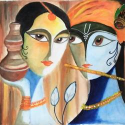 radha krishna - meeting of consciousness and body , 24 x 20 inch, dharani pal,religious paintings,paintings for office,radha krishna paintings,canvas,fabric,24x20inch,GAL038108829,radhakrishna,love,pece,lordkrishna,,lordradha,peace,flute,music,radha,krishna,devotion,couple