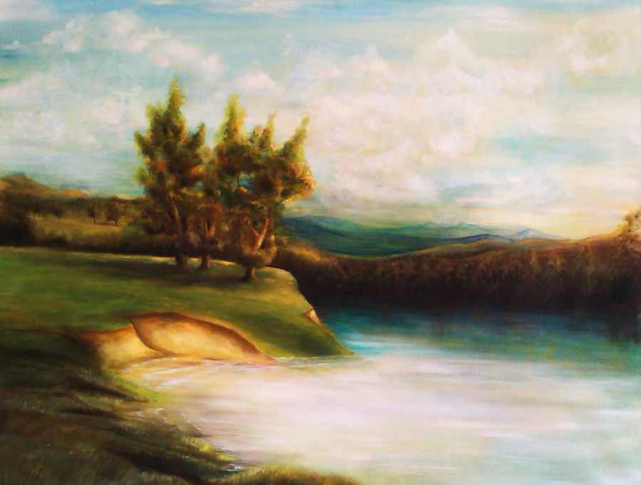 riverbed, 41 x 30 inch, seby augustine,landscape paintings,paintings for living room,canvas,acrylic color,41x30inch,GAL0150883